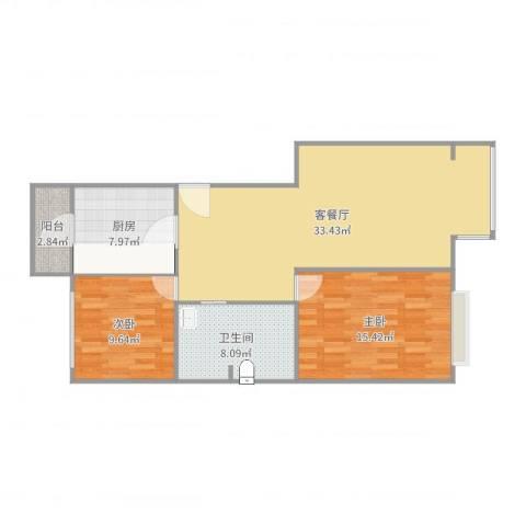 融域1342室2厅1卫1厨97.00㎡户型图