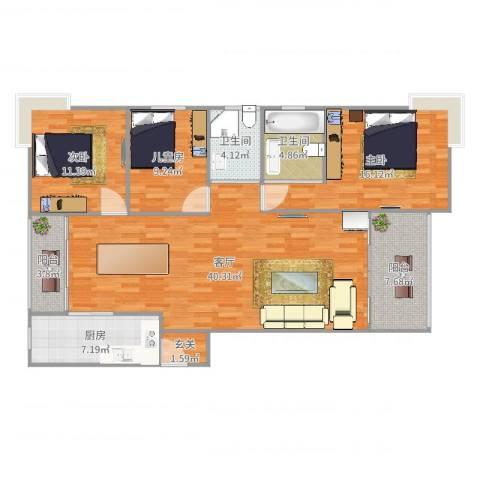 水月秦淮3室1厅2卫1厨133.00㎡户型图