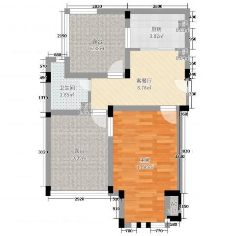海德公园1室2厅1卫1厨45.40㎡户型图