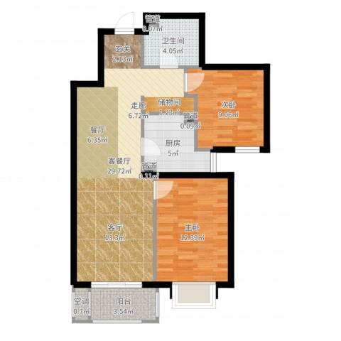 首创・悦树湾2室2厅1卫1厨81.00㎡户型图