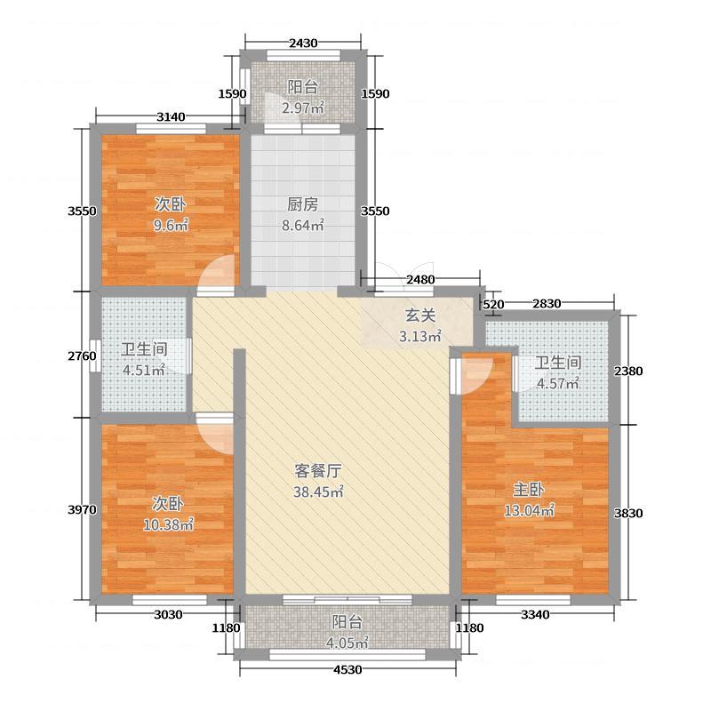 哈西骏赫城118.68㎡洋房C1户型3室3厅2卫1厨