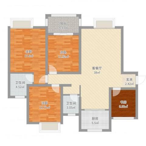 创元金域华府4室2厅2卫1厨131.00㎡户型图