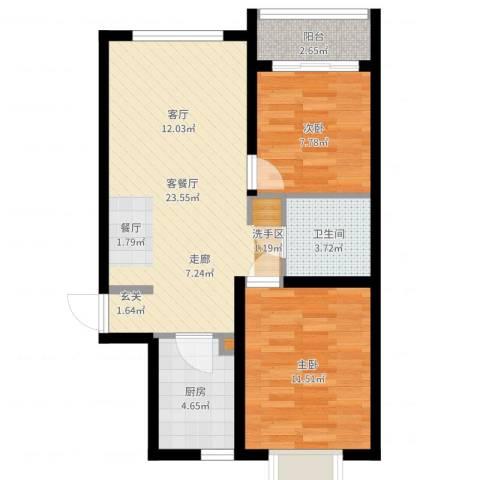 龙景尚都2室2厅1卫1厨67.00㎡户型图