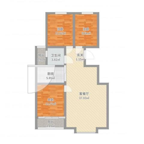 恒顺世纪中心3室2厅1卫1厨105.00㎡户型图