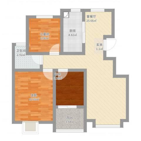 扬子新苑3室2厅1卫1厨93.00㎡户型图