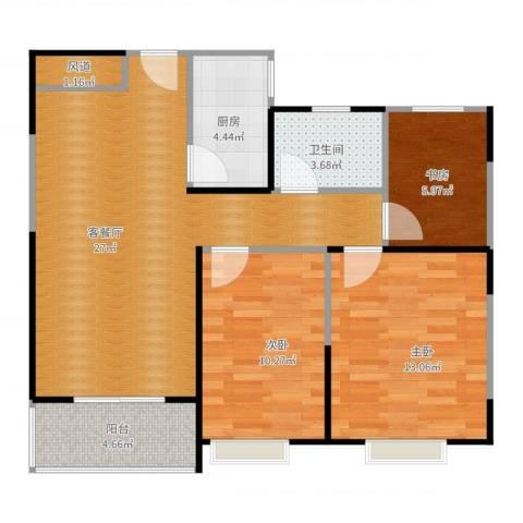 祥源城3室2厅1卫1厨95.00㎡户型图