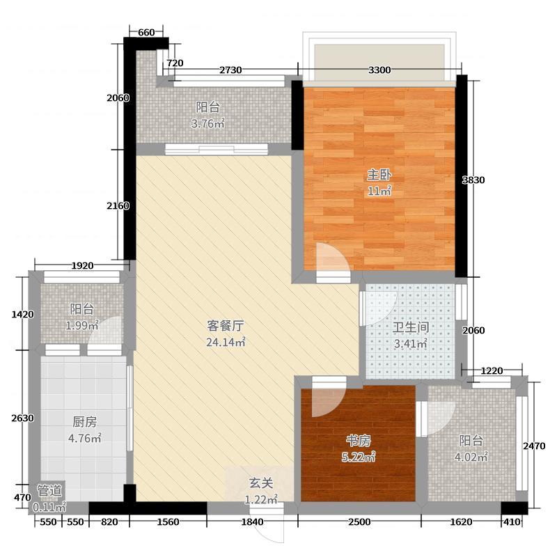 惠阳雅居乐花园73.00㎡3栋0户型2室2厅1卫1厨