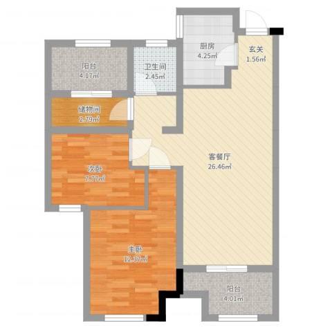 新城国际花都2室2厅1卫1厨80.00㎡户型图