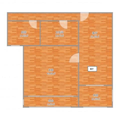 新中苑4.403两房两厅户型2室1厅1卫1厨194.00㎡户型图