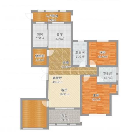 保亿・风景御园2室2厅2卫1厨135.00㎡户型图