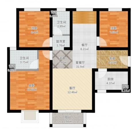 香缤国际城3室2厅2卫1厨95.00㎡户型图