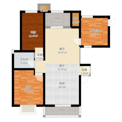 大顺花园2室1厅1卫1厨108.00㎡户型图