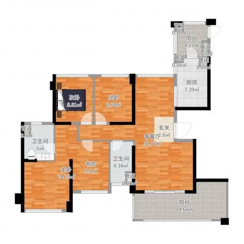 绿岛湖壹号13座013室2厅2卫1厨140.00㎡户型图