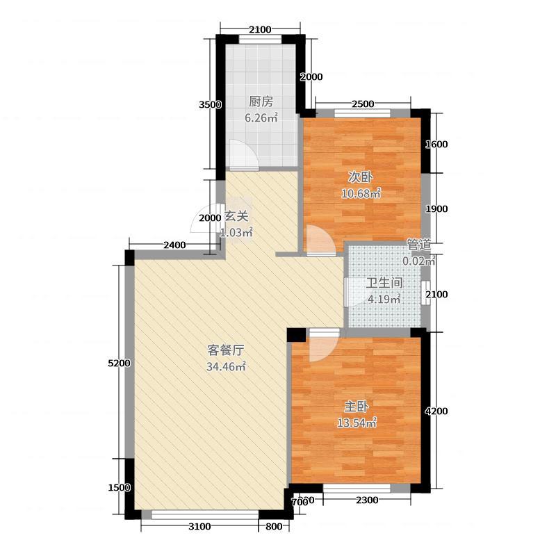汇银东第95.79㎡二期户型2室2厅1卫