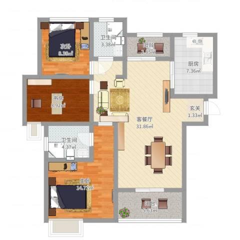 文峰城市广场3室2厅2卫1厨109.00㎡户型图