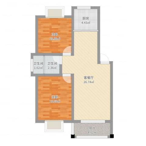 树人花园2室2厅2卫1厨78.00㎡户型图