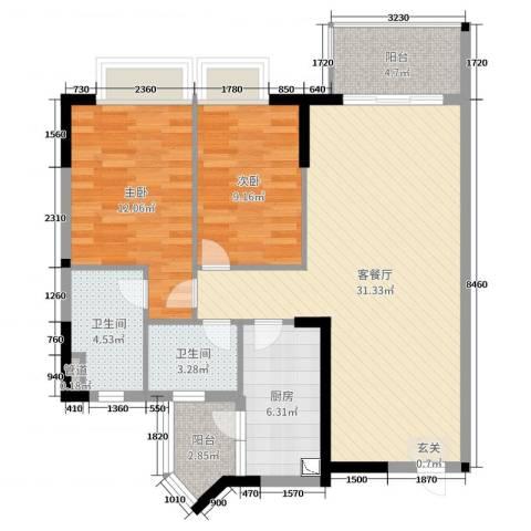 嘉信城市花园五期2室2厅2卫1厨93.00㎡户型图