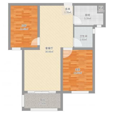 月城熙庭2室2厅1卫1厨69.45㎡户型图