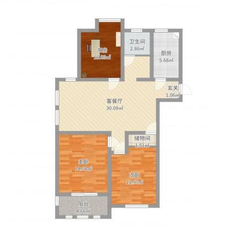 港龙华庭3室2厅1卫1厨101.00㎡户型图