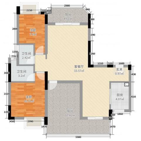 城市杰座2室2厅2卫1厨104.00㎡户型图