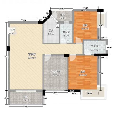 城市杰座2室2厅2卫1厨105.00㎡户型图