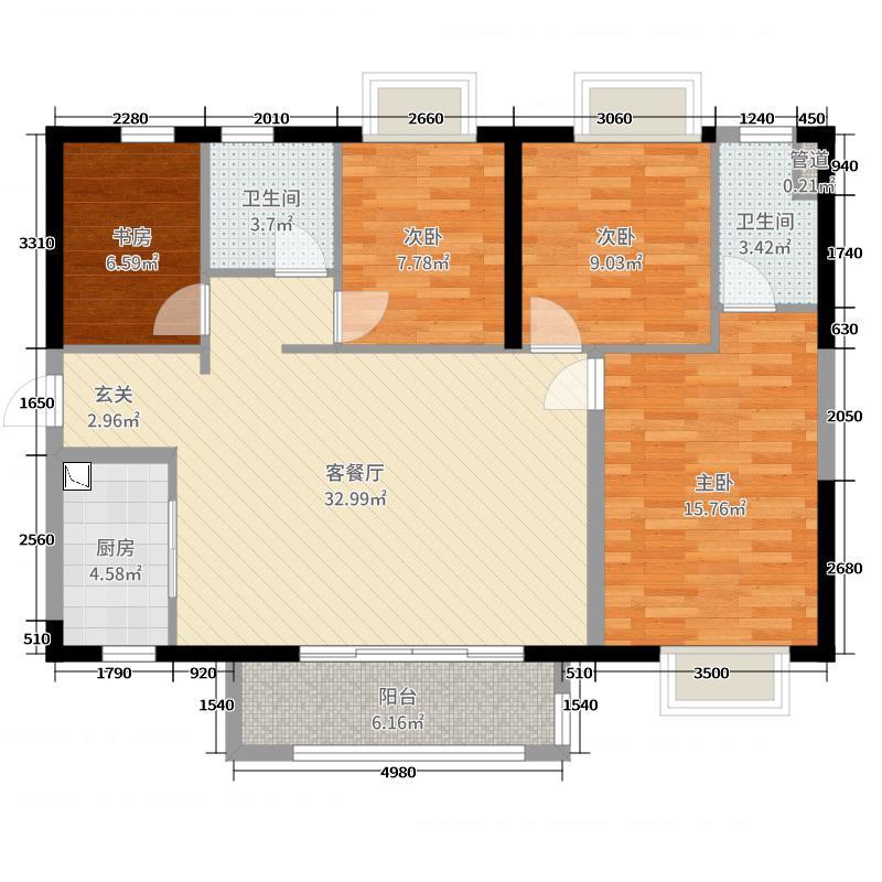 时代水岸113.00㎡3#户型4室4厅2卫1厨