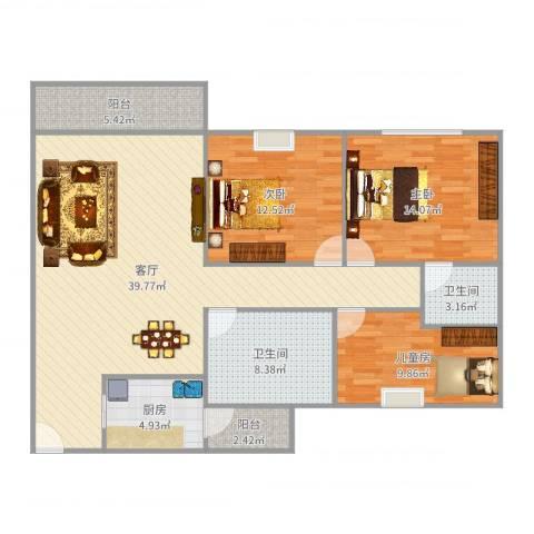 盈彩美地107飘窗户型3室1厅2卫1厨126.00㎡户型图