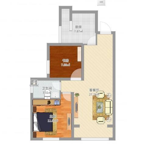 三丰中心思想2室2厅1卫1厨74.00㎡户型图