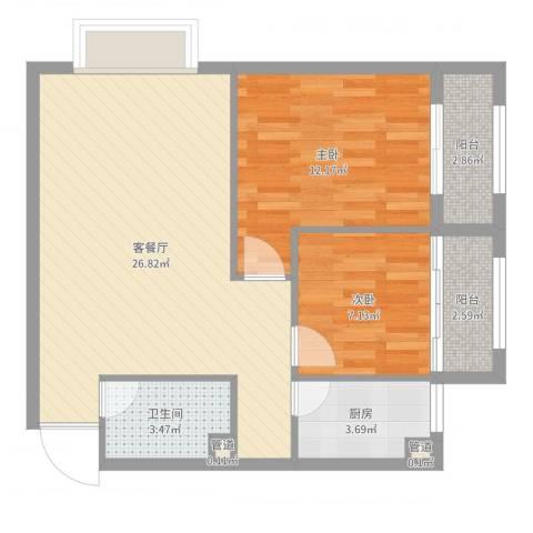 金域蓝郡2室2厅1卫1厨74.00㎡户型图