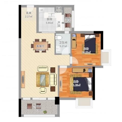 华轩居2室2厅1卫1厨89.00㎡户型图
