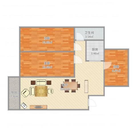 锦绣柠溪3室1厅1卫1厨97.00㎡户型图