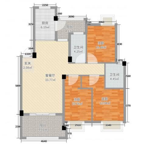 世纪金都3室2厅2卫1厨120.00㎡户型图