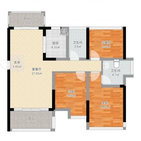 江湾公馆(一期)3室2厅2卫1厨100.00㎡户型图