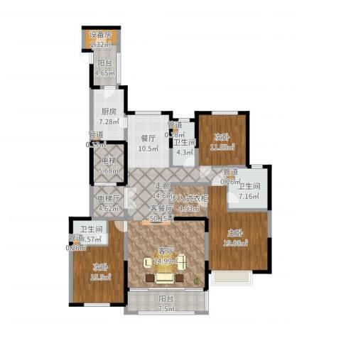 西派国际3室2厅3卫1厨187.00㎡户型图