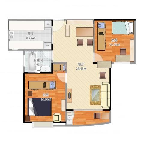 大华锦绣华城第16街区2室1厅1卫1厨84.00㎡户型图