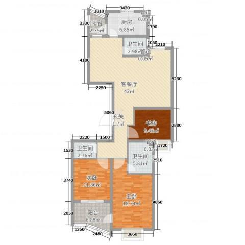 运河明珠3室2厅3卫1厨136.00㎡户型图