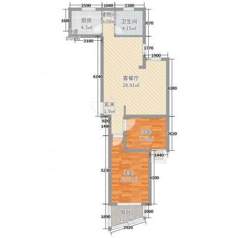 运河明珠2室2厅1卫1厨75.00㎡户型图