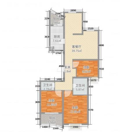 运河明珠3室2厅2卫1厨128.00㎡户型图
