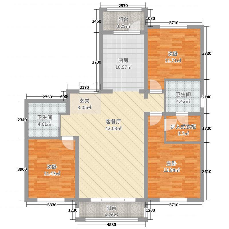 哈西骏赫城132.17㎡洋房C3户型3室3厅2卫1厨