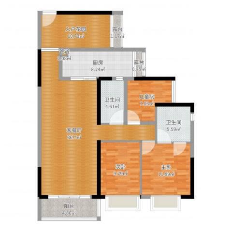 龙光城北二88-2-1703李总3室3厅3卫1厨127.00㎡户型图