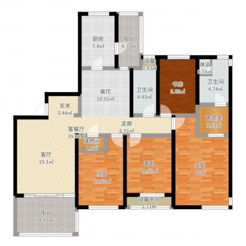 金湖湾花园4室2厅2卫1厨158.00㎡户型图