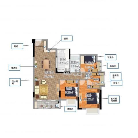 松湖春天4室2厅1卫1厨113.00㎡户型图
