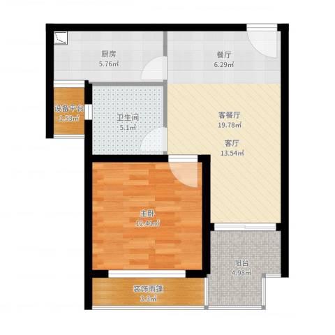 顺泽翠屏湾1室2厅1卫1厨66.00㎡户型图