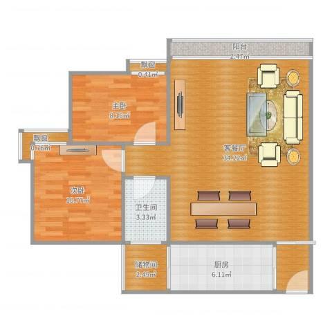 金领家族2室2厅1卫1厨88.00㎡户型图