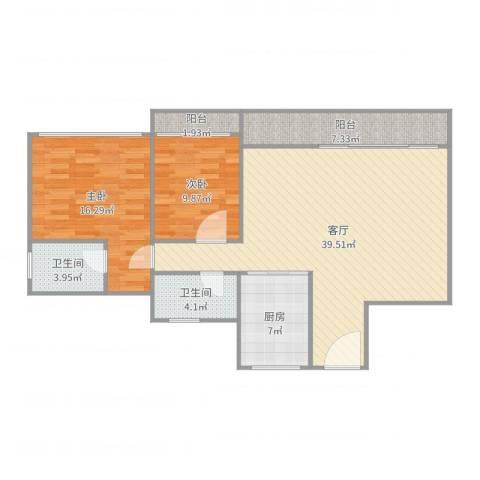城东名门92方2室1厅2卫1厨112.00㎡户型图