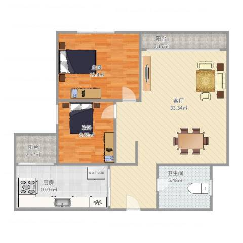 汇星豪庭26栋802房2室1厅1卫1厨104.00㎡户型图