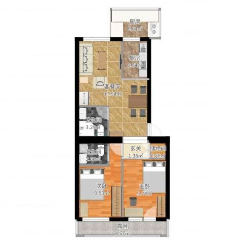 南华大街2室2厅2卫2厨73.00㎡户型图