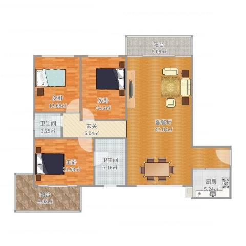 文屏大厦3室2厅2卫1厨156.00㎡户型图