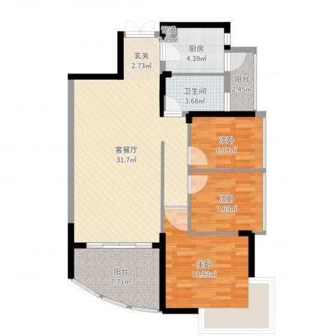 锦绣江南三期3室2厅1卫1厨95.00㎡户型图