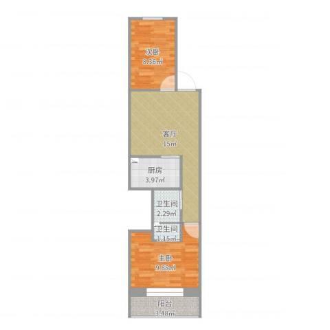 黄寺大街24号院3-5-6022室1厅2卫1厨55.00㎡户型图
